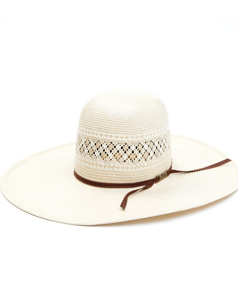 """American Hat Company Men's Chocolate 5"""" Open Crown Western Straw Hat , Natural, hi-res"""