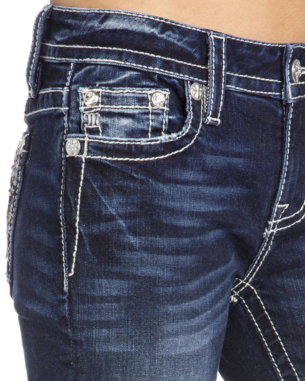 Miss Me Women's Leaf Pocket Boot Cut Jeans, Indigo, hi-res