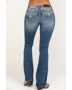 Miss Me Women's Embellished Faux Flap Chloe Bootcut Jeans, Blue, hi-res
