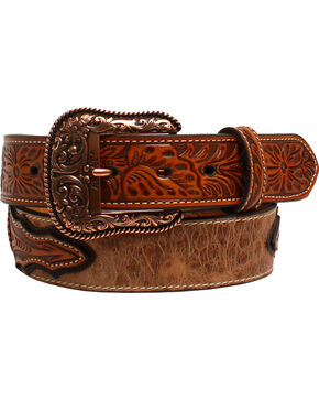 Ariat Men's Ostrich Print Western Belt , Tan, hi-res
