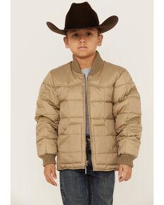 Roper Boys' Brown Rangewear Down Zip Front Jacket , Tan, hi-res