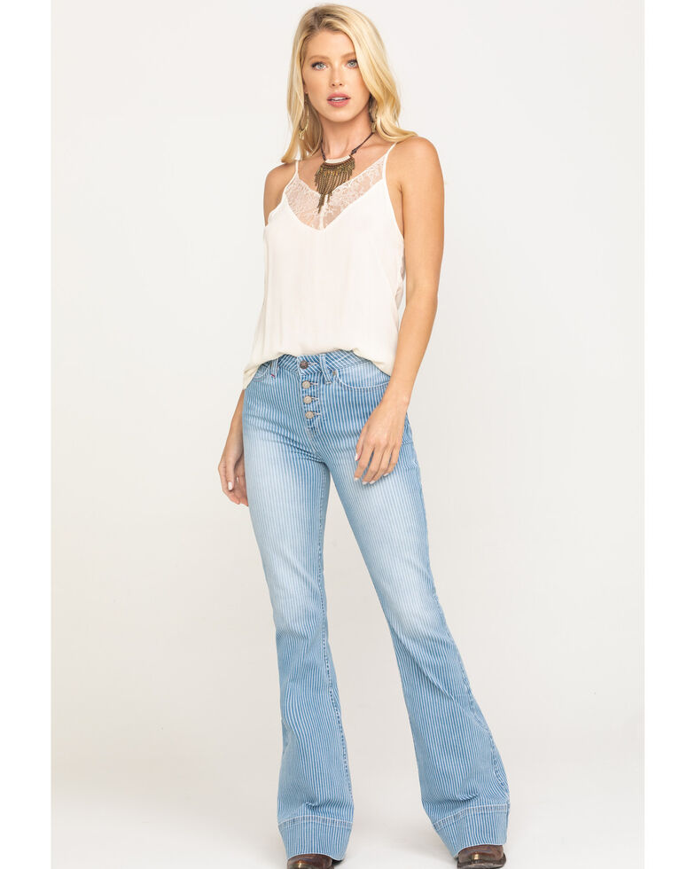 Idyllwind Women's Crazy Train Striped High Rise Fit & Flare Jeans , Light Blue, hi-res