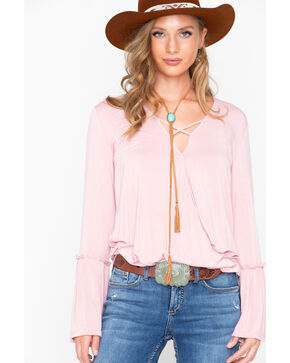 Rock and Roll Cowgirl Women's Bell Sleeve Criss Cross Top, Blush, hi-res