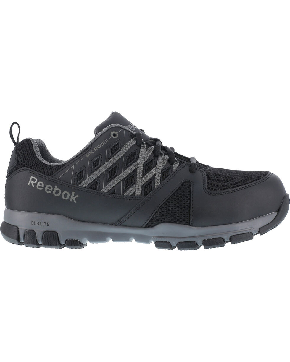 Reebok Men's Leather with MicroWeb Athletic Oxfords - Steel Toe, Black, hi-res