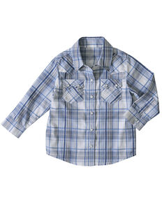 Wrangler Toddler Boys' Woven Plaid Snap Long Sleeve Western Shirt , Blue, hi-res