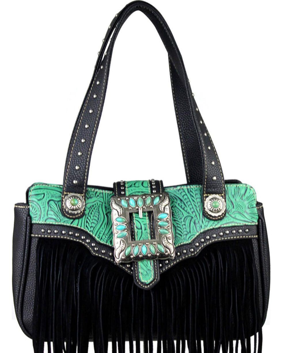 Montana West Trinity Ranch Black Fringe Design Handbag, Black, hi-res
