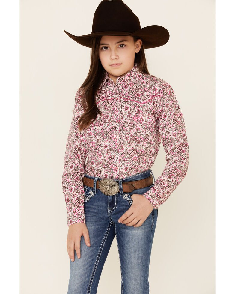 Cowgirl Hardware Girls' Pink Paisley Print Long Sleeve Western Shirt , Pink, hi-res