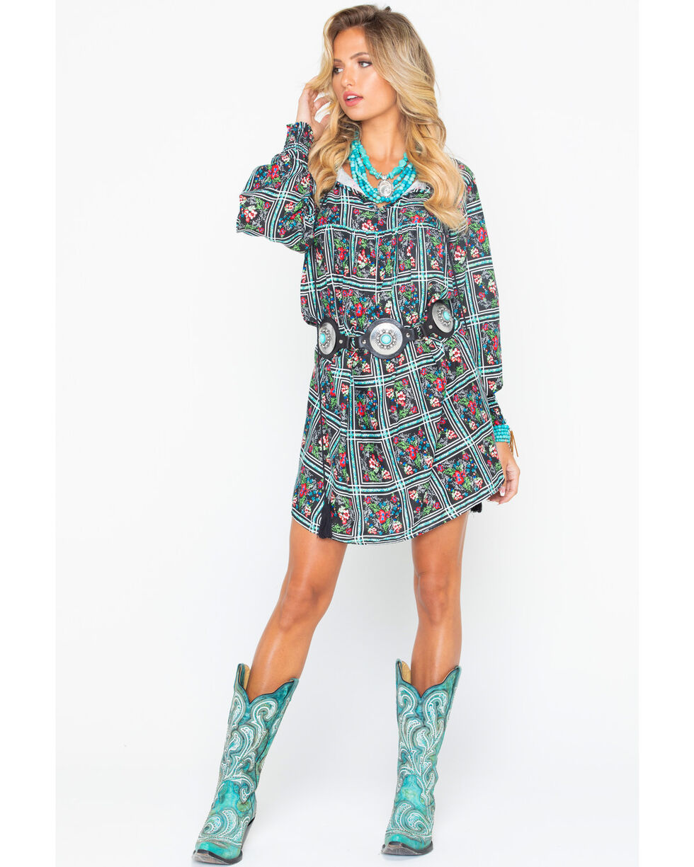 Rock & Roll Cowgirl Women's Floral Patterned Shift Dress, Black, hi-res