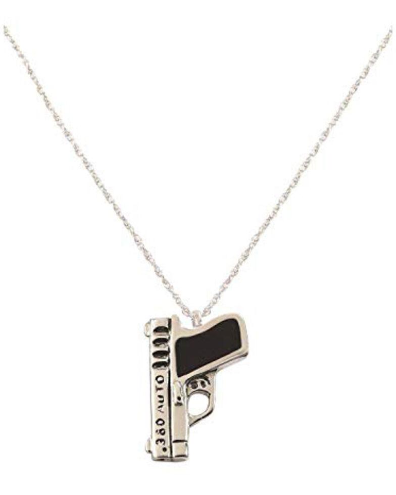 Silver Legends Women's 380 Auto Pistol Necklace , Black, hi-res