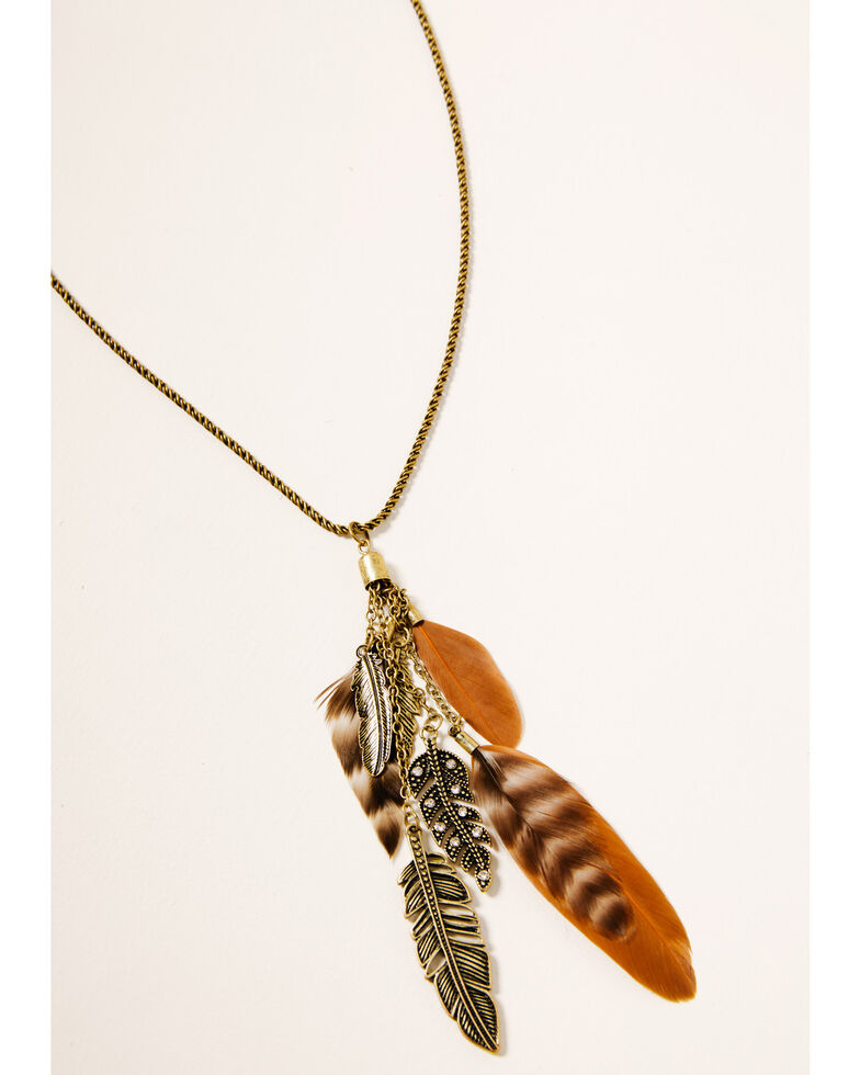 Shyanne Women's Winslow Feather Necklace Set, Gold, hi-res