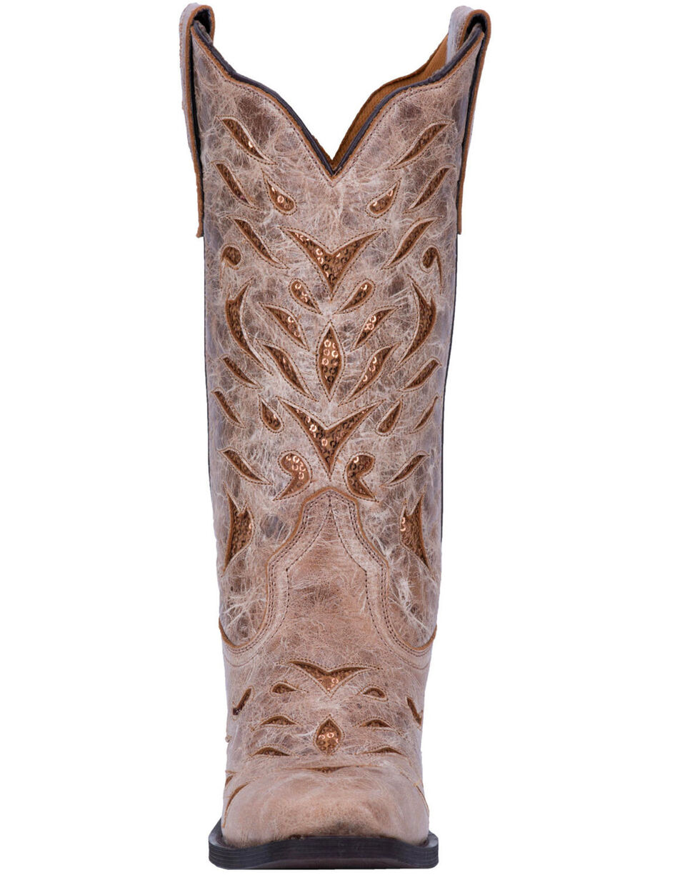 Laredo Women's Leather Roxanne Western Boots, Tan, hi-res