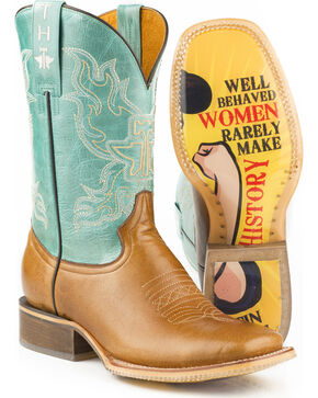 Tin Haul Women's Sassy with Mis B Havin Sole Cowgirl Boots - Square Toe, Tan, hi-res