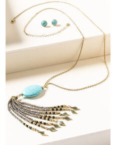 Shyanne Women's Gilded Gold Turquoise Stone Beaded Tassel Set, Gold, hi-res