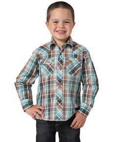 Wrangler Boys ' Multi Plaid Fashion Snap Long Sleeve Western Shirt , Brown, hi-res