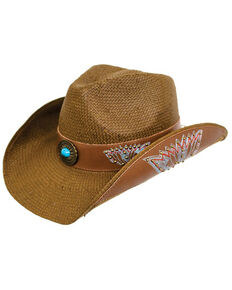 Peter Grim Headwear Women's Darcy Drifter Straw Hat , Brown, hi-res