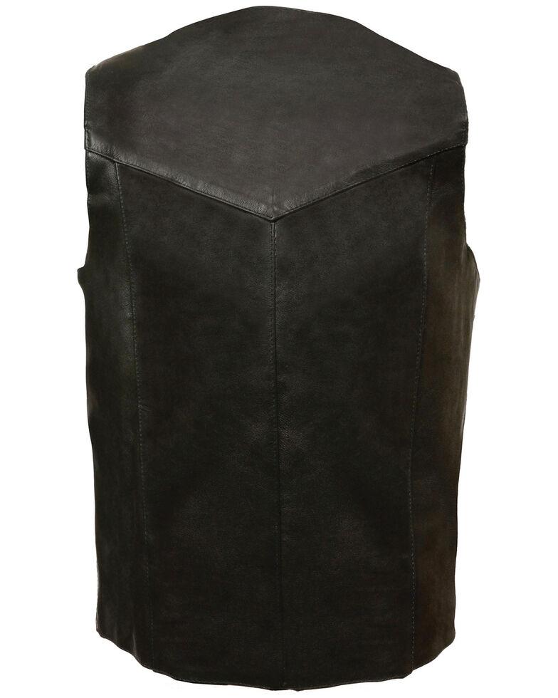 Milwaukee Leather Men's Classic Snap Front Biker Vest - XBig & Tall, Black, hi-res