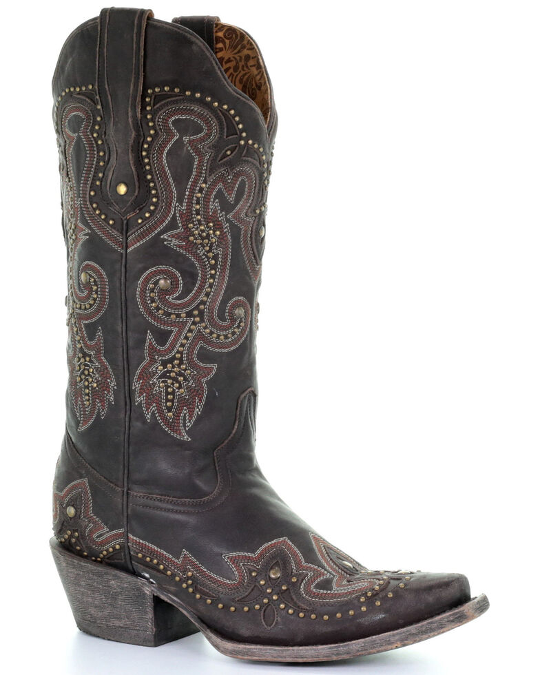Corral Women's Brown Embroidery Western Boots - Snip Toe, , hi-res