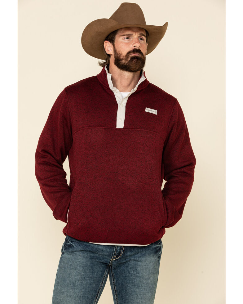 Cinch Men's Burgundy 1/4 Snap Front Heavyweight Knit Pullover Sweatshirt , Burgundy, hi-res