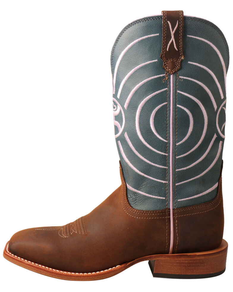 "HOOey Women's 11"" Dark Brown & Navy Swirl Western Boots - Wide Square Toe, Dark Brown, hi-res"
