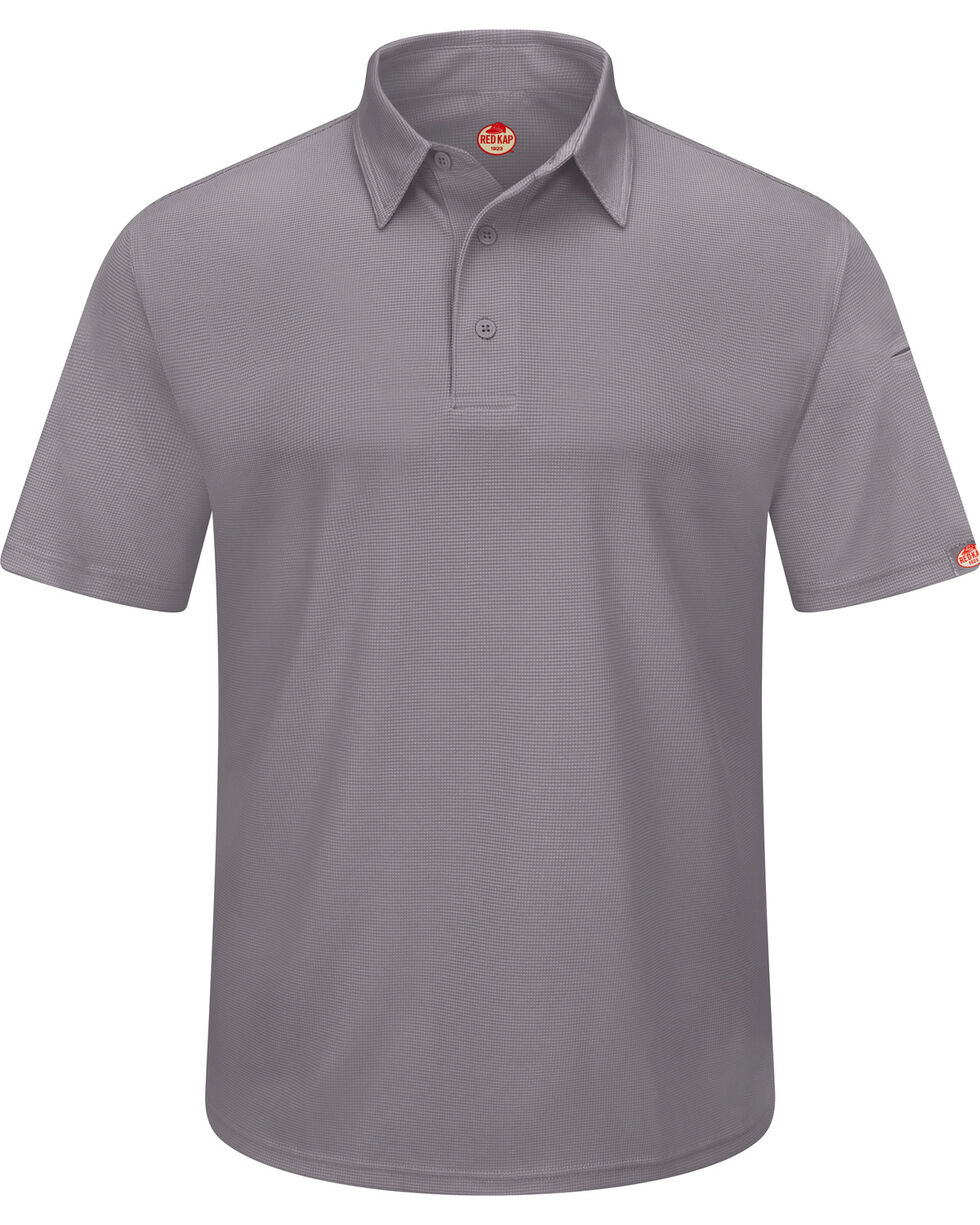 Red Kap Men's Performance Knit Flex Series Polo Shirt , Grey, hi-res