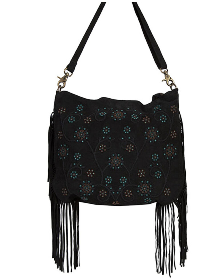 Scully Women's Black Side Fringe Handbag, Black, hi-res