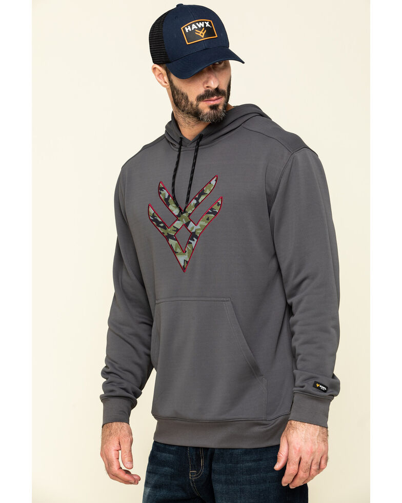 Hawx Men's Grey Tech Logo Hooded Work Sweatshirt - Tall , Dark Grey, hi-res