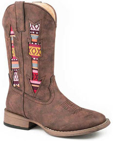 Roper Boys' Aztec Arrow Western Boots - Square Toe, Brown, hi-res