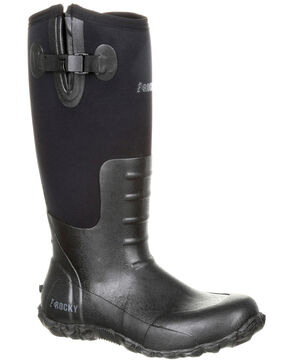Rocky Men's Waterproof Rubber Work Boots - Round Toe, Black, hi-res