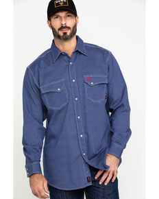 Ariat Men's FR Mantle Geo Print Long Sleeve Work Shirt - Tall , Blue, hi-res