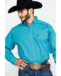 Ariat Men's Tasher Stretch Geo Print Long Sleeve Western Shirt , Blue, hi-res