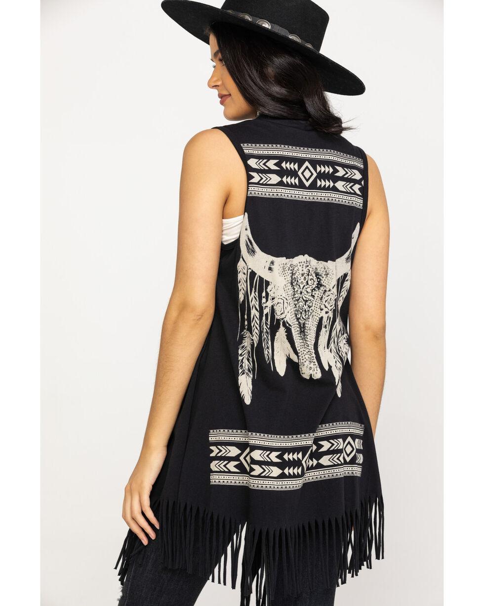Vocal Women's Black Steer Head Fringe Vest , Black, hi-res