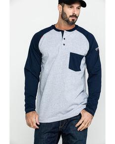 Ariat Men's FR Baseball Henley Work Shirt , Heather Grey, hi-res