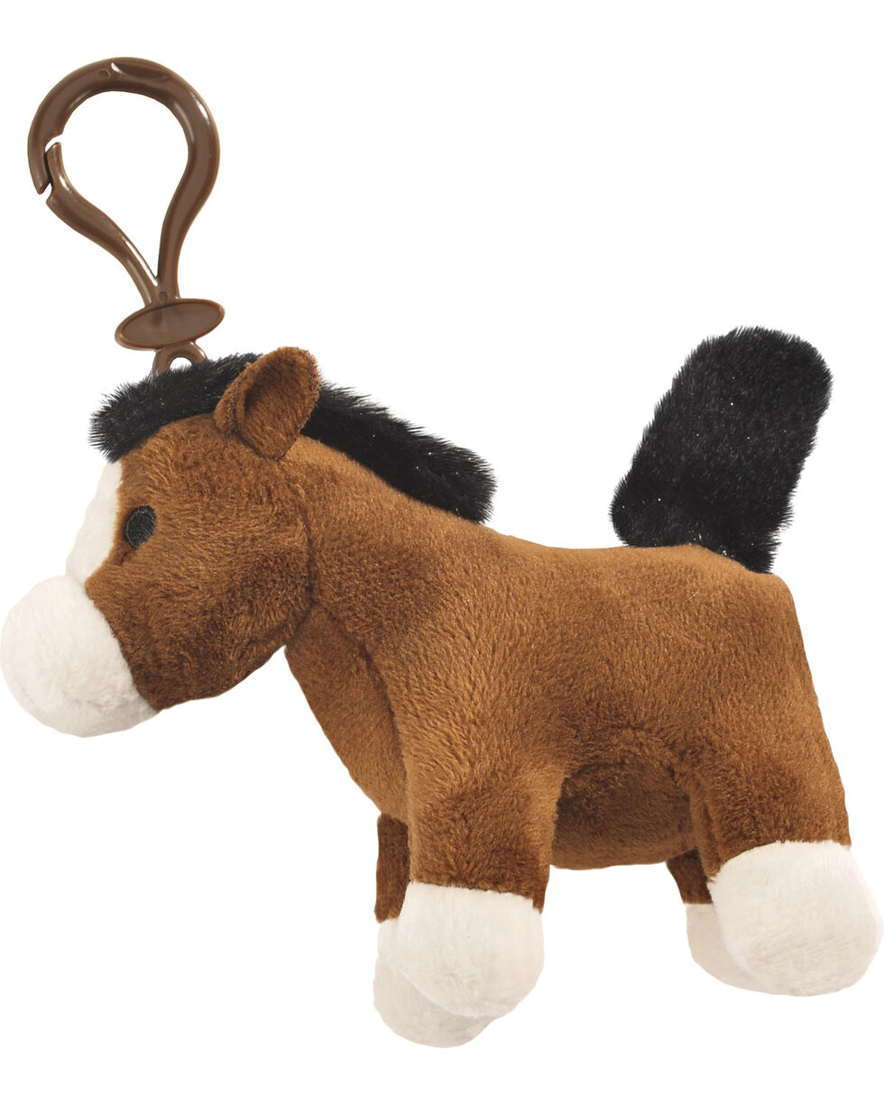 Aurora Plush Horse Key Clip , Brown, hi-res