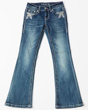 Grace In LA Girls' Medallion Pocket Boot Jeans , Indigo, hi-res