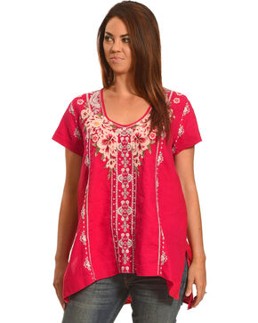 Johnny Was Women's Christine Drape Top , Pink, hi-res