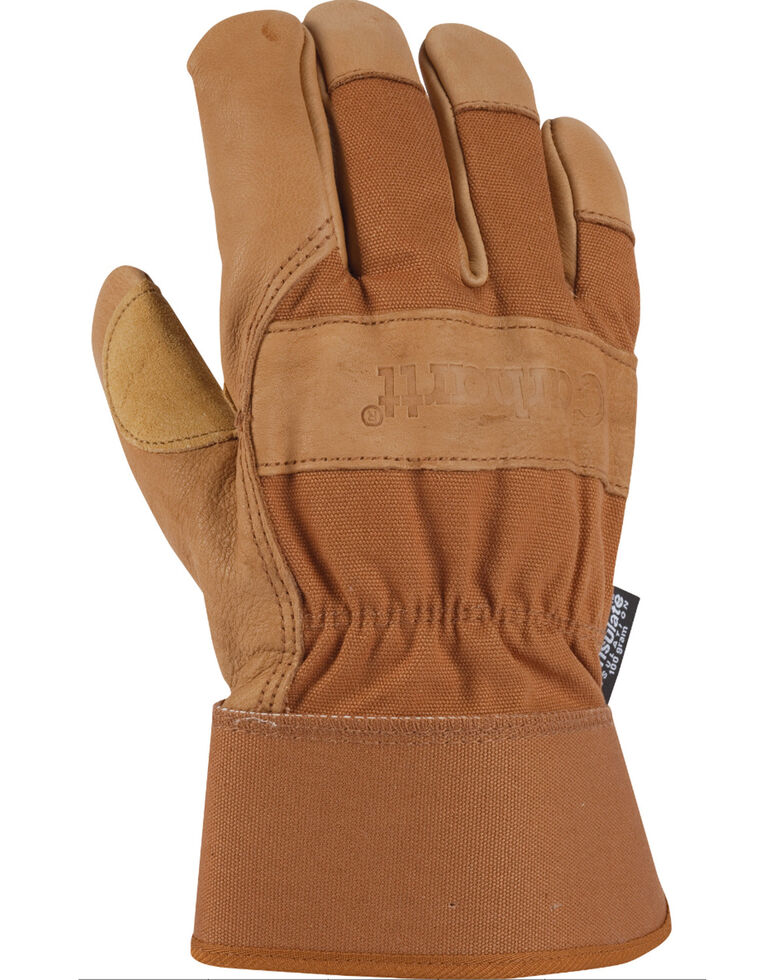 Carhartt Men's Insulated Grain Leather Work Gloves, Brown, hi-res