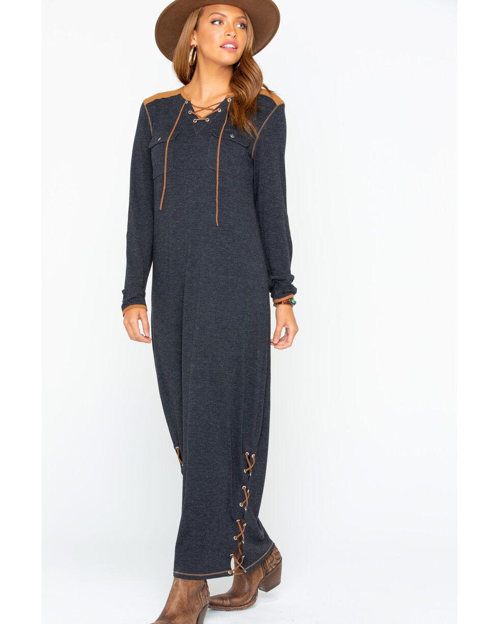 Tasha Polizzi Women's Laurel Lace-Up Long Sleeve Dress , Black, hi-res
