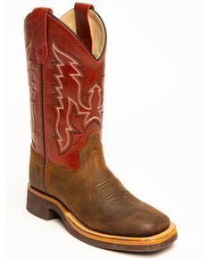 Cody James Boys' Red Top Western Boots - Wide Square Toe, Brown, hi-res