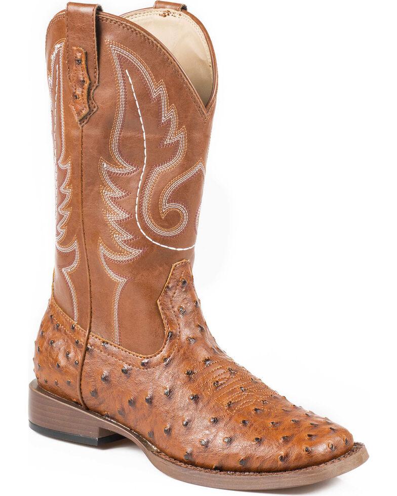 Roper Faux Ostrich Cowboy Boots - Wide Square Toe, Tan, hi-res