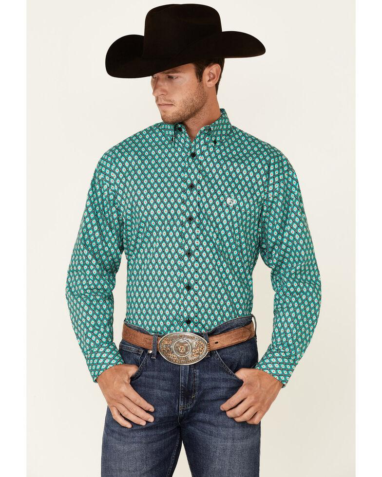 Panhandle Select Men's Emerald Geo Print Long Sleeve Button-Down Western Shirt , Green, hi-res