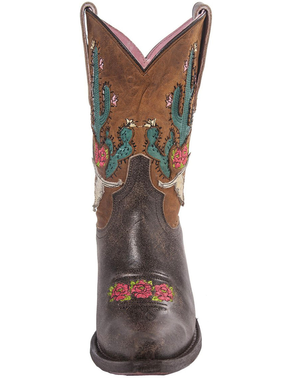 Junk Gypsy by Lane Light Brown Bramble Rose Western Boots - Snip Toe , Brown, hi-res