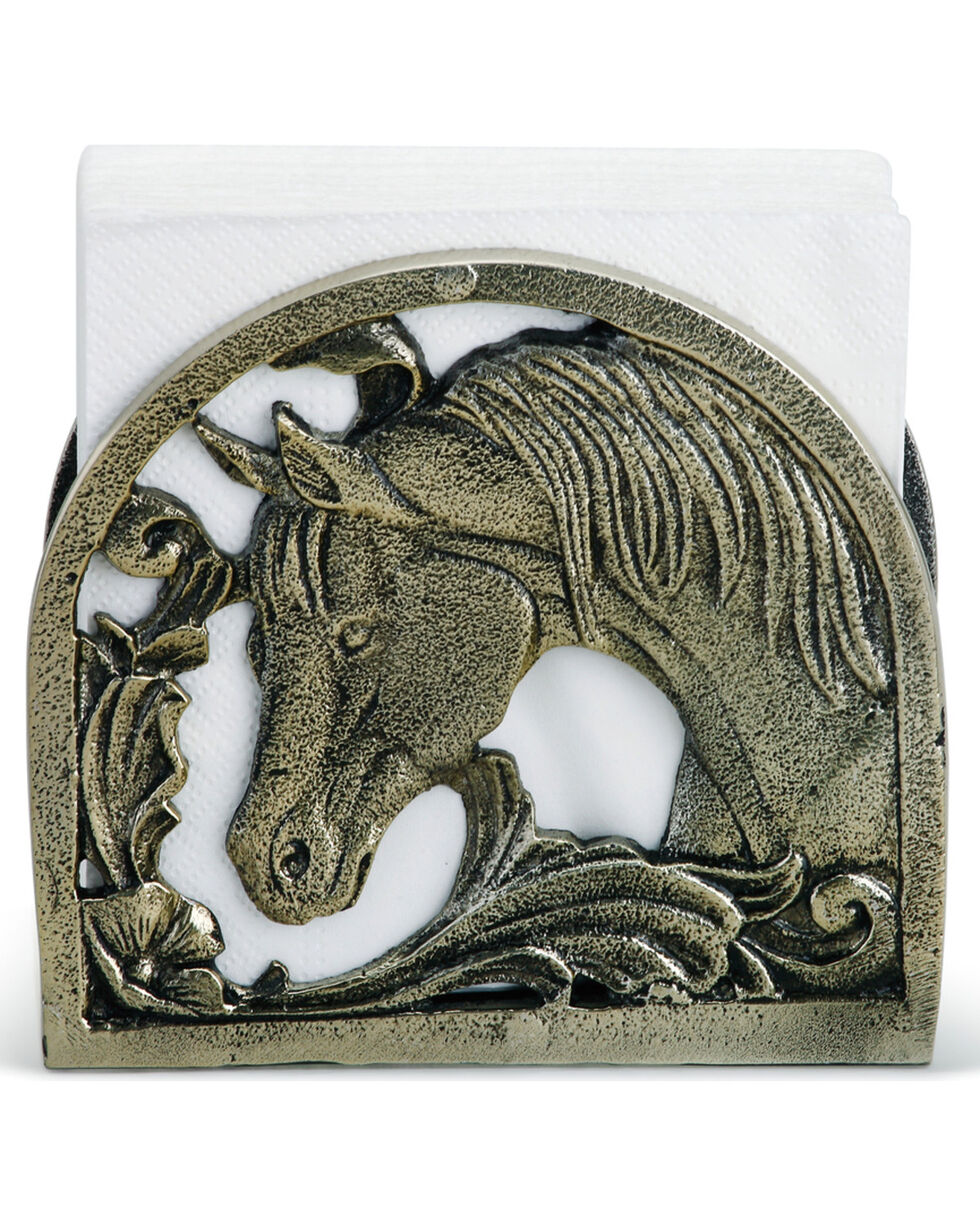 Demdaco Silver Equine Metal Napkin Holder , Silver, hi-res