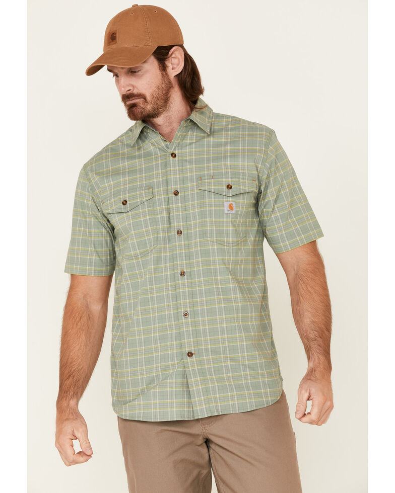 Carhartt Men's Green Plaid Rugged Flex Short Sleeve Button-Down Work Shirt , Green, hi-res