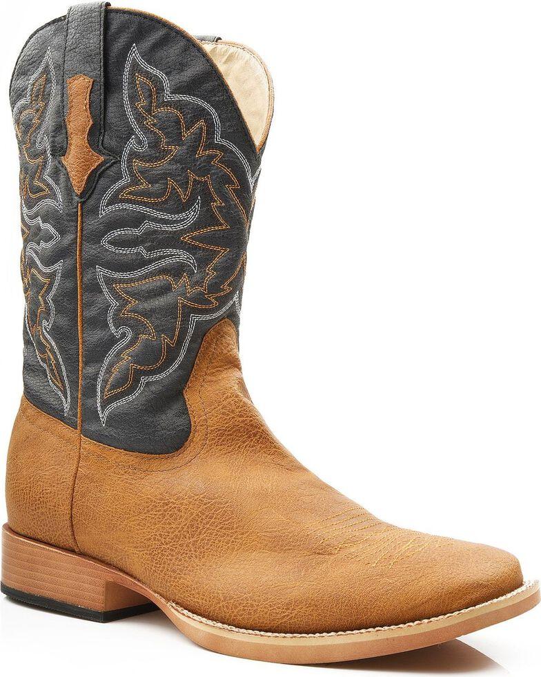 Roper Men's Faux Leather Cowboy Boots - Square Toe, Tan, hi-res