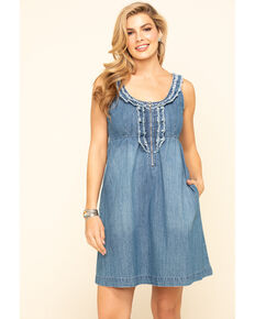 Stetson Women's Denim Ruffle Tank Dress, Blue, hi-res