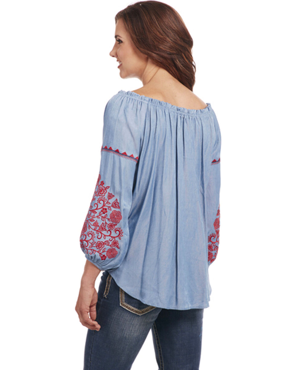 Cowgirl Up Women's Indigo Embroidered Peasant Top , Indigo, hi-res
