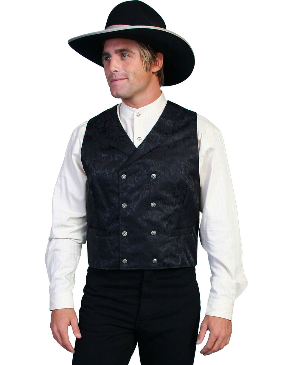 Wahmaker by Scully Floral Silk Double Breasted Vest - Big & Tall, Black, hi-res