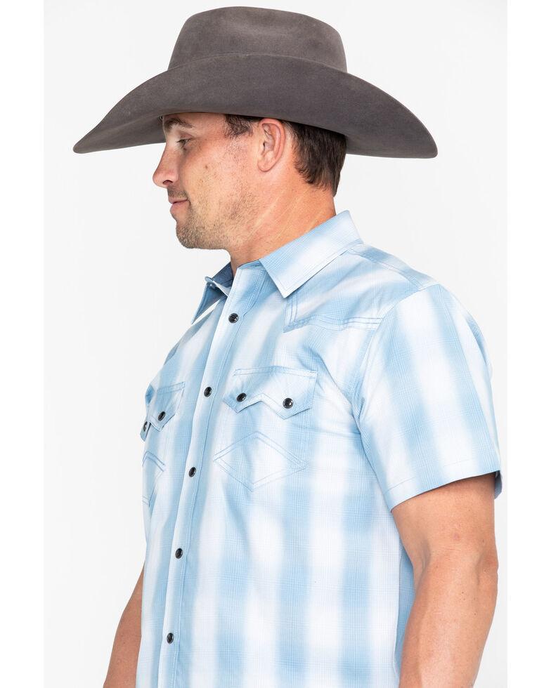 Cody James Men's Still Waters Ombre Plaid Short Sleeve Western Shirt - Big , Light Blue, hi-res