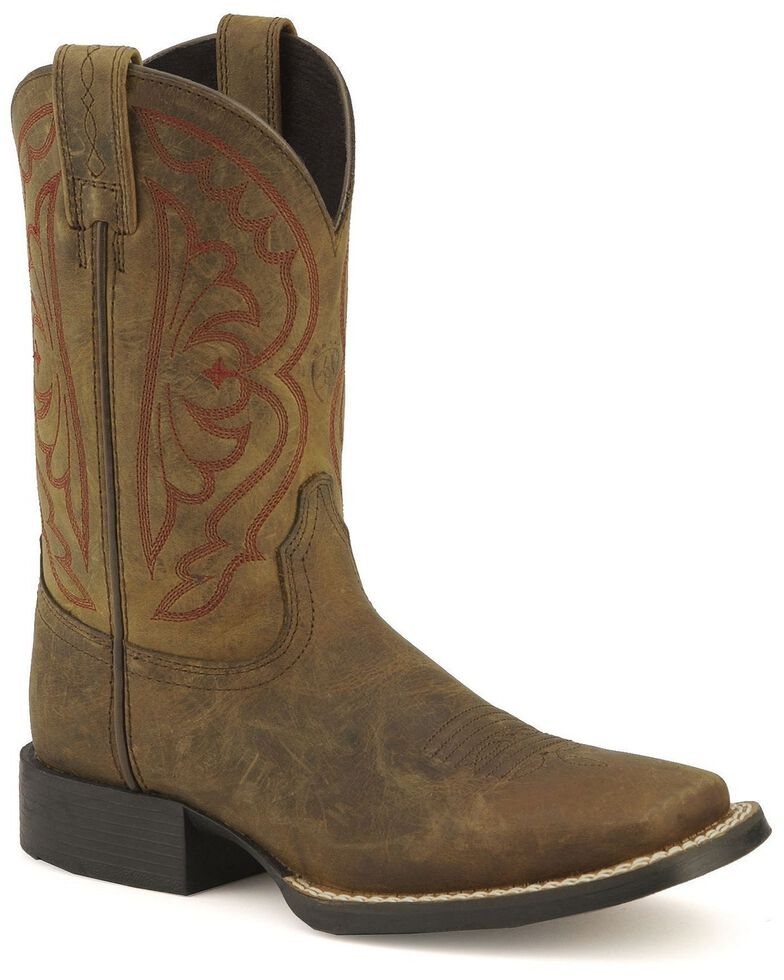 Ariat Boys' Quickdraw Cowboy Boots - Square Toe, Distressed, hi-res