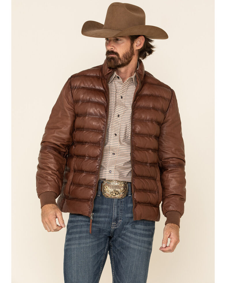 Stetson Men's Novelty Solid Smooth Puffy Leather Jacket , Brown, hi-res